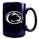 Penn State Metal Logo 15oz Ceramic Navy Mug