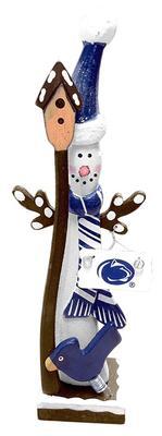Hannas Handiworks - Penn State Wooden Snowman with Birdhouse