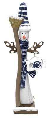 Hannas Handiworks - Penn State Wooden Snowman with Broom