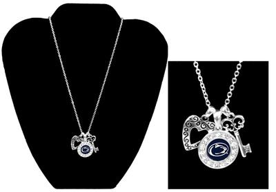 From The Heart - Penn State Logo, Heart, and Key Necklace
