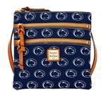 Penn State Dooney & Bourke Triple Zipper Cross-Body Bag NAVY