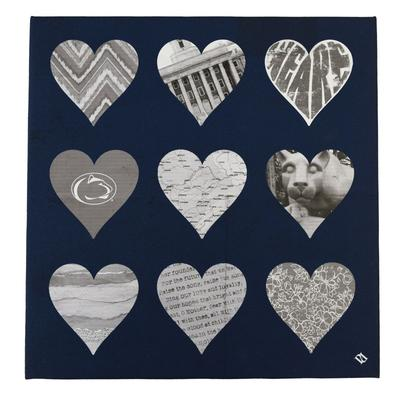 Penn State 12 X 12 Hearts Canvas Souvenirs Home Signs
