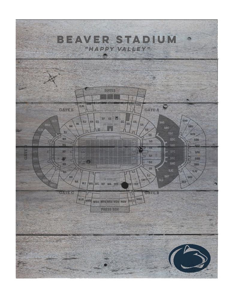 Penn State Beaver Stadium Wooden Seating Chart Souvenirs Home