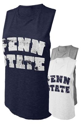 The Family Clothesline - Penn State Women's Distressed Block Bold Muscle Tank