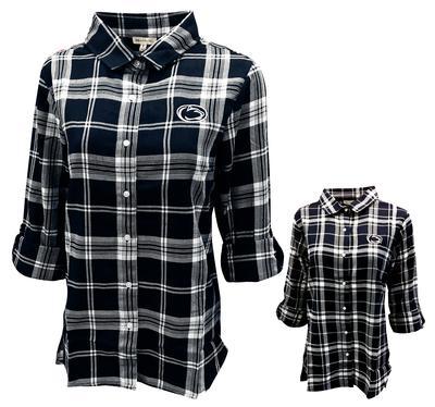 University Girls - Penn State Women's Plaid Boyfriend Flannel Shirt