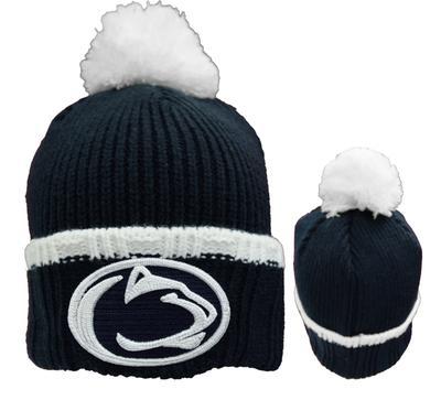 New Era Caps - Penn State Adult Prime Team Pom Knit Hat