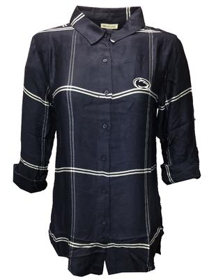 University Girls - Penn State Women's Boyfriend Plaid Dress Shirt