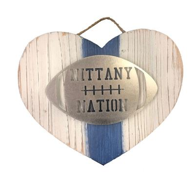 Rock Lion - Penn State Nittany Nation Heart Wood Sign