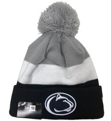 New Era Caps - Penn State Adult Triblock Pom Knit Hat