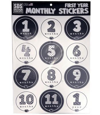 SDS Design - Penn State Baby 1st Year Monthly Sticker Sheet