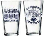 Penn State 2019 Wrestling National Champions 16 oz.Pint Glass CLEAR