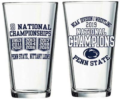R.F.S.J. Inc. - Penn State 2019 Wrestling National Champions 16 oz.Pint Glass