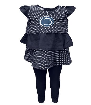 Two Feet Ahead - Penn State Infant Ruffle Shirt and Pant Set