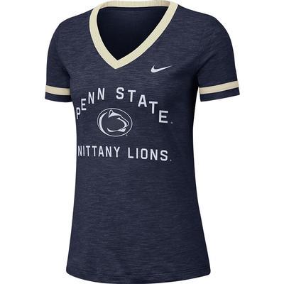 NIKE - Penn State Nike Women's NK Slub V-Neck T-Shirt
