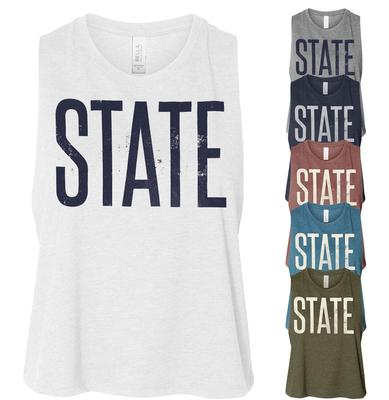 The Family Clothesline - Penn State Women's Distressed State Crop Tank