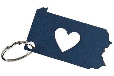 Rock Lion - Penn State Wooden Heart Keychain