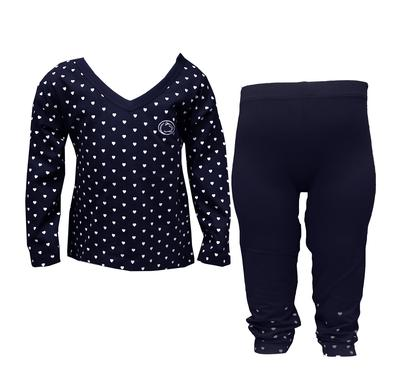 Two Feet Ahead - Penn State Toddler Heart Long Sleeve Pant Set