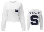 Penn State Women's Fight Song Cropped Long Sleeve WHITE