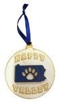 Penn State Happy Valley Paw Wood Ornament