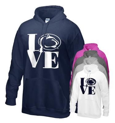 The Family Clothesline - Penn State Love Logo Hooded Adult Sweatshirt